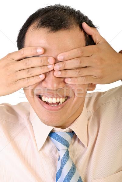 Cego feliz sorridente empresário asiático cobrir Foto stock © elwynn