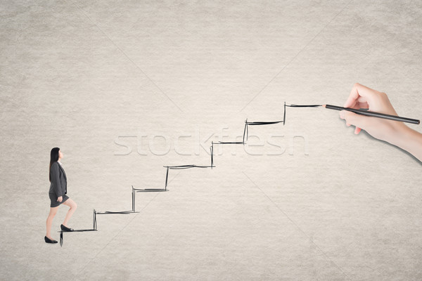Asian business woman walk on stairs Stock photo © elwynn