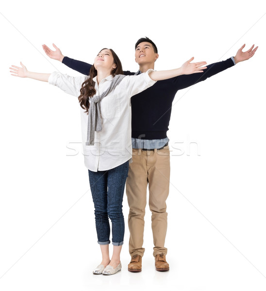Asian couple ouvrir bras libre Photo stock © elwynn