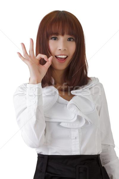 Сток-фото: Cute · деловой · женщины · давать · вызывать · жест · белый