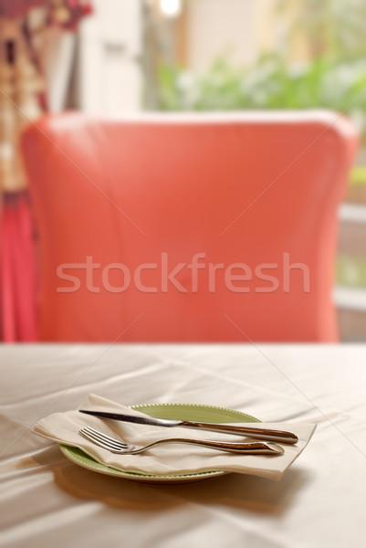 Kimse sofra takımı tablo boş sandalye restoran Stok fotoğraf © elwynn