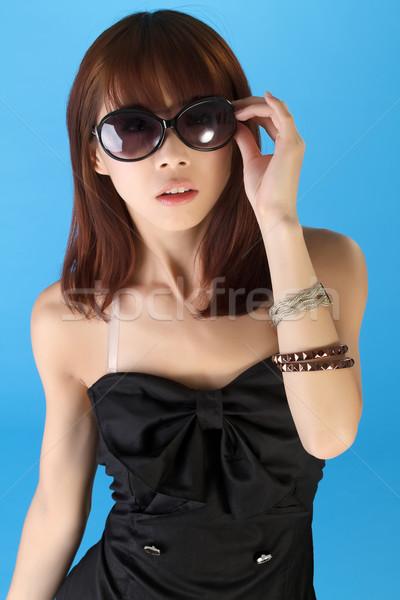 Sexy asian kobieta okulary portret Zdjęcia stock © elwynn