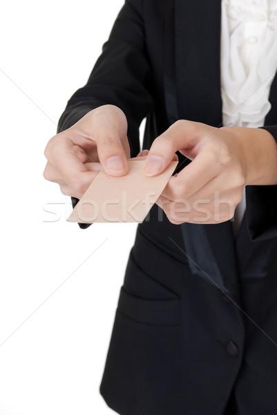 Névjegy tart üzletasszony fehér nő kéz Stock fotó © elwynn