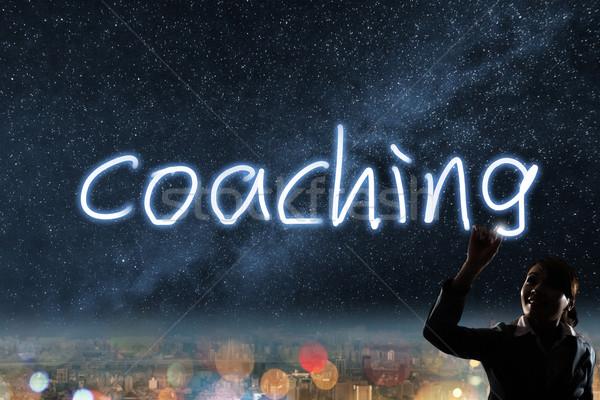 コーチング シルエット アジア ビジネス女性 光 図面 ストックフォト © elwynn
