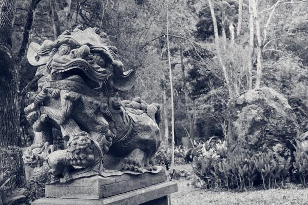 Bronzen leeuw standbeeld chinese stand natuur Stockfoto © elwynn