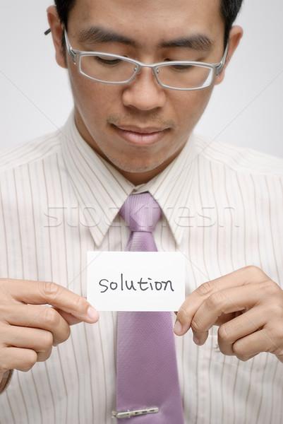 Oplossing manager een kaart woorden Stockfoto © elwynn