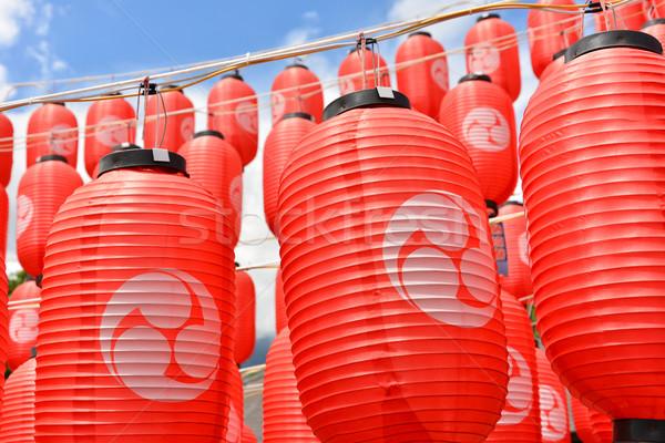 Asiático vermelho lanternas tradicional Japão luz Foto stock © elwynn