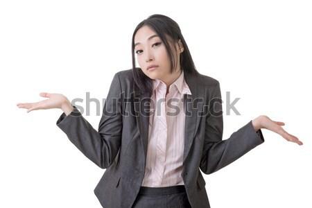 беспомощный молодые бизнеса деловой женщины Плечи белый Сток-фото © elwynn