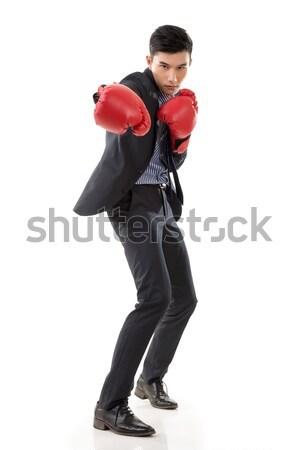 Kavga Asya işadamı boks eldivenleri tam uzunlukta portre Stok fotoğraf © elwynn