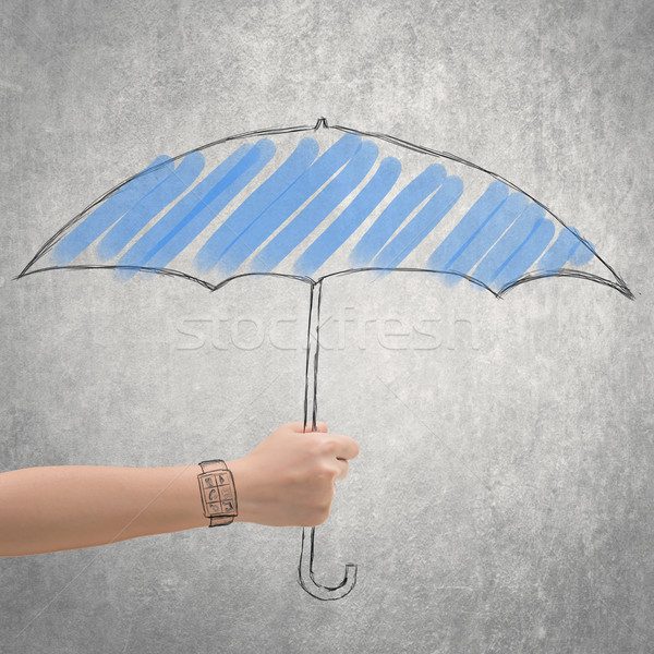 concept of waterproof by holding a umbrella Stock photo © elwynn