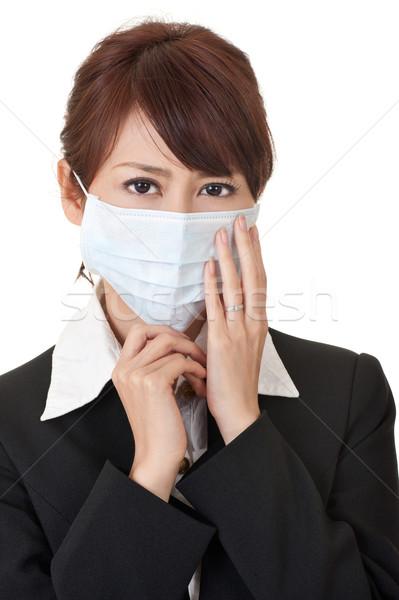Сток-фото: деловой · женщины · маске · портрет · белый · молодые