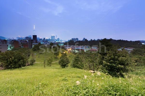 夜景 現代 建物 公園 台湾 アジア ストックフォト © elwynn