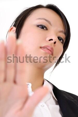 Photo stock: Femme · d'affaires · seuls · téléphone · geste · portrait