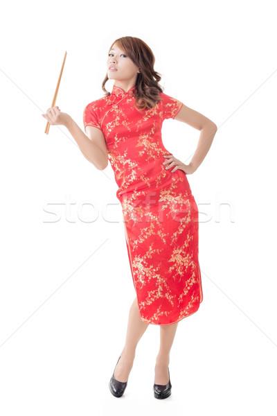 Eetstokjes glimlachend chinese vrouw jurk Stockfoto © elwynn