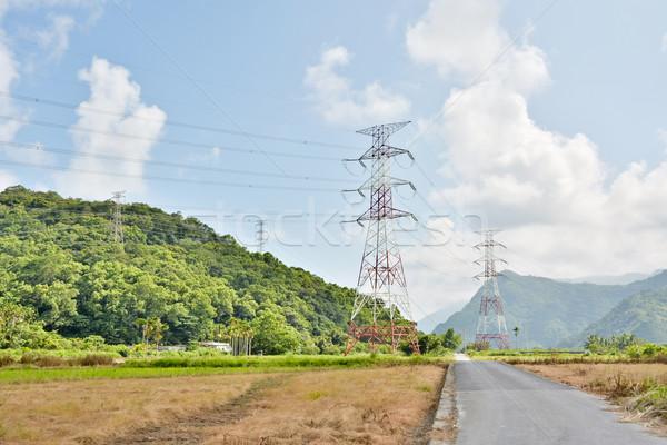 Power lines in countryside Stock photo © elwynn