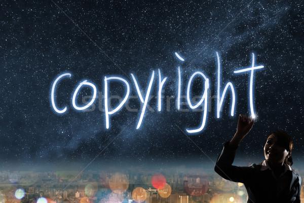 著作権 シルエット アジア ビジネス女性 光 図面 ストックフォト © elwynn