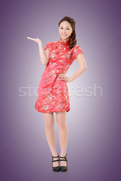 Asian femme souriant chinois robe traditionnel Photo stock © elwynn