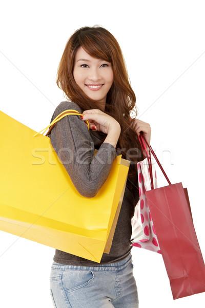 Mutlu gülen alışveriş kız portre Stok fotoğraf © elwynn