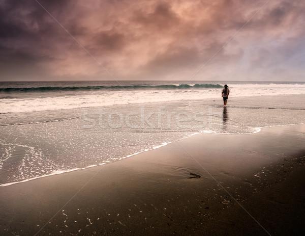 Bir adam yürüyüş yalnız kenar fantezi Stok fotoğraf © elwynn