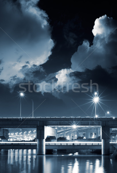 Photo stock: Night · City · scène · pont · nuages · ciel · bâtiment