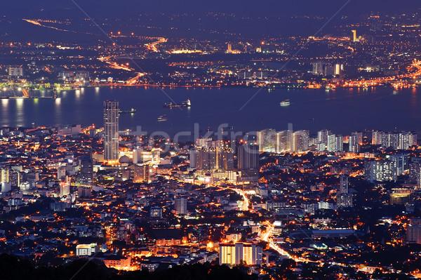 Cityscape nuit coloré scène de nuit rivière Malaisie Photo stock © elwynn
