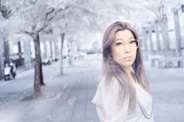 Asya güzellik sihir bayan kar uçmak Stok fotoğraf © elwynn