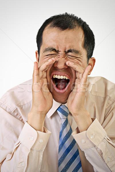 Kiabál üzletember portré nyitott szájjal fehér üzlet Stock fotó © elwynn