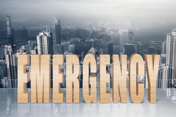 Risico gevaar crash 3d tekst hemel moderne Stockfoto © elwynn