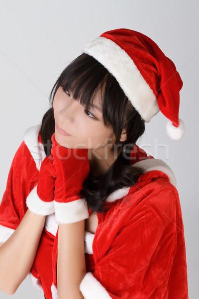 Foto stock: Desejo · natal · menina · retrato