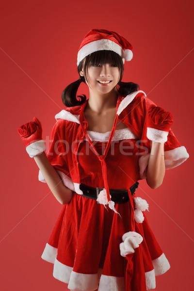 Foto stock: Natal · menina · dança · feliz · sorridente · vermelho