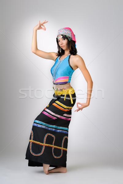 Китай девушки танцы красочный платье женщину Сток-фото © elwynn