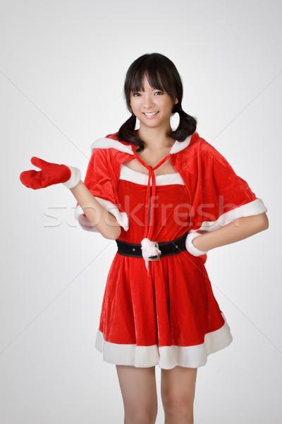 Foto stock: Feliz · natal · menina · cinza · estúdio · sorrir