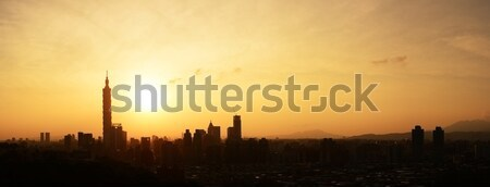 Sunset cityscape in Taipei Stock photo © elwynn