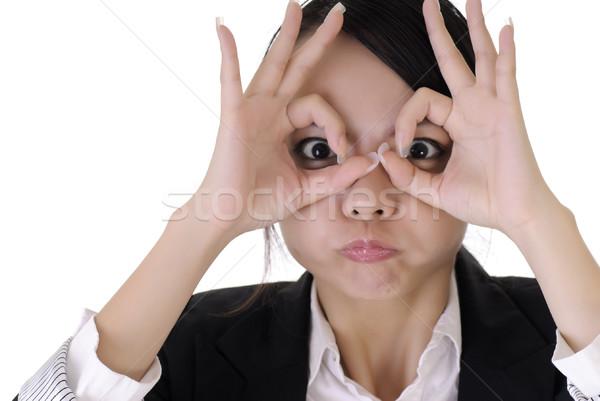 Grappig gezicht jonge zakenvrouw portret witte Stockfoto © elwynn