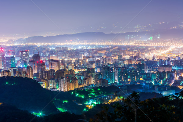 Nocturna de la ciudad escena oficina edificio ciudad horizonte Foto stock © elwynn