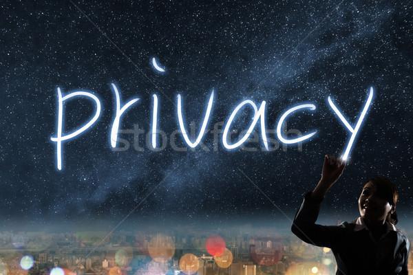 Prywatność sylwetka asian business woman świetle rysunek Zdjęcia stock © elwynn