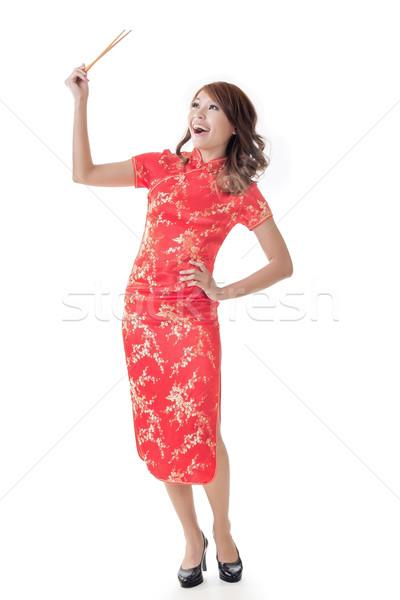 旧正月 箸 笑みを浮かべて 中国語 女性 ドレス ストックフォト © elwynn