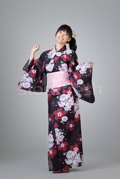 Japanese ragazza dancing felice sorridere Foto d'archivio © elwynn