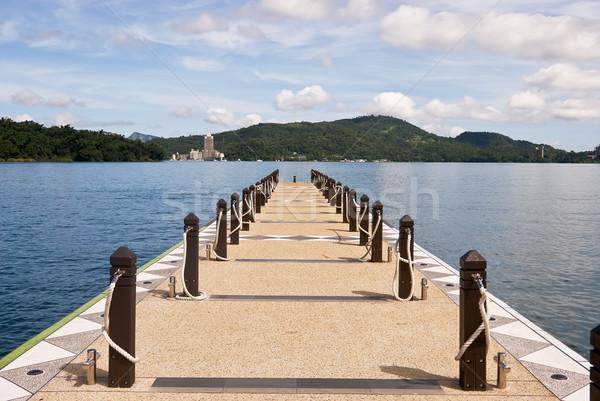 Quai ciel bleu paysage lac ciel eau Photo stock © elwynn