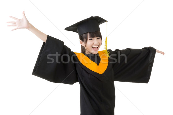 Young asian graduation woman is happy Stock photo © elwynn
