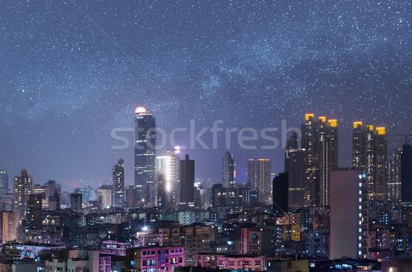 Night City scena Hongkong wieżowce niebo Zdjęcia stock © elwynn