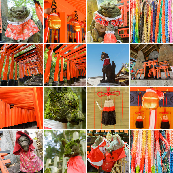 Collection of Fushimi Inari Taisha Shrine scenics Stock photo © elwynn