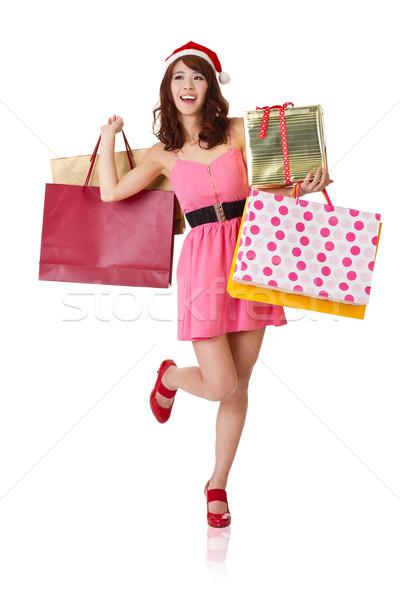 Heureux Shopping fille sacs coffret cadeau Photo stock © elwynn