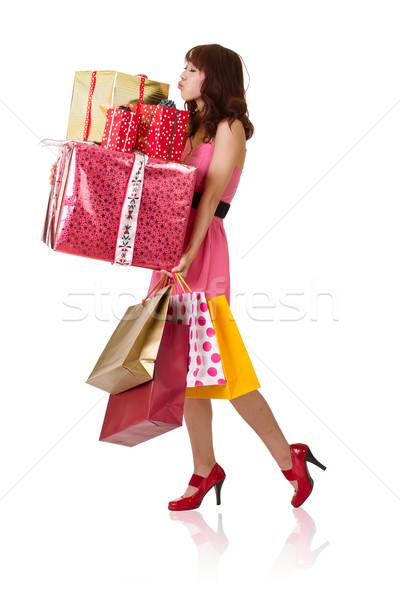 Foto stock: Feliz · compras · menina · sacos · caixa · de · presente