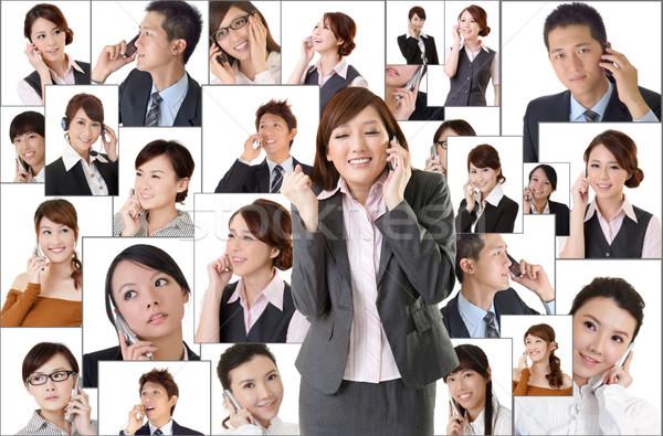 Бизнес-сеть азиатских деловые люди мобильного телефона общаться другой Сток-фото © elwynn