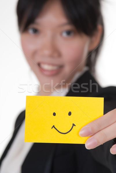 Gülümseme simge kartvizit Asya işkadını Stok fotoğraf © elwynn