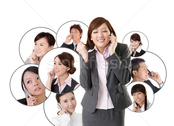 Business network asian ludzi biznesu telefonu komórkowego przekazują inny Zdjęcia stock © elwynn