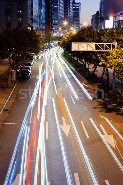 Samochody świetle noc ruchu zamazany obraz Zdjęcia stock © elwynn