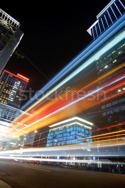 Colorido nocturna de la ciudad escena coches movimiento borroso Foto stock © elwynn