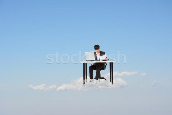 Foto d'archivio: Nuvoloso · lavoro · business · asian · uomo · d'affari · nube